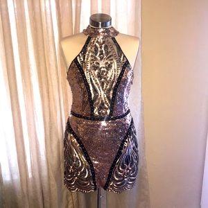 Boohoo premium sequin Lauren halter neck mini dres
